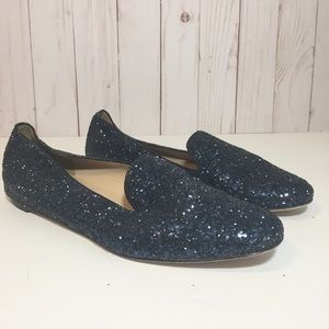 J. Crew Darby Glitter Loafers Navy Blue Leather 7